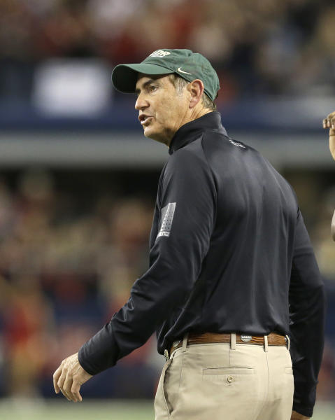 Baylor head coach Art Briles yells from the sideline during the first half of an NCAA college football game against Texas Tech in Arlington, Texas, Saturday, Nov. 16, 2013. (AP Photo/LM Otero)