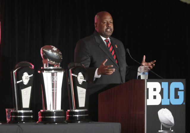 Maryland head coach Mark Locksley responds to a question during the Big Ten Conference NCAA college football media days Thursday, July 18, 2019, in Chicago. (AP Photo/Charles Rex Arbogast)