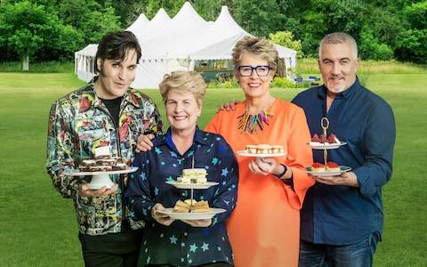 Noel Fielding, Sandi Toksvig, Prue Leith and Paul Hollywood, presenters and judges on The Great British Bake Off 2018 - Credit: Mark Bourdillon/Love Productions