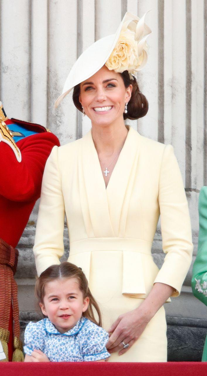 """<p>For t<a href=""""https://www.townandcountrymag.com/society/tradition/a27753673/kate-middleton-dress-trooping-the-colour-2019/"""" rel=""""nofollow noopener"""" target=""""_blank"""" data-ylk=""""slk:he annual Trooping the Colour parade, the Duchess chose a light yellow dress by Alexander McQueen"""" class=""""link rapid-noclick-resp"""">he annual Trooping the Colour parade, the Duchess chose a light yellow dress by Alexander McQueen</a>, with a hat by Philip Treacy.</p>"""