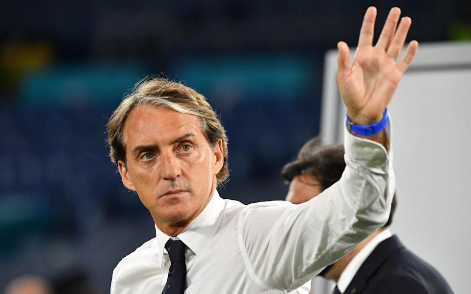 Roberto Mancini, Head Coach of Italy reacts following victory in the UEFA Euro 2020 - Getty Images