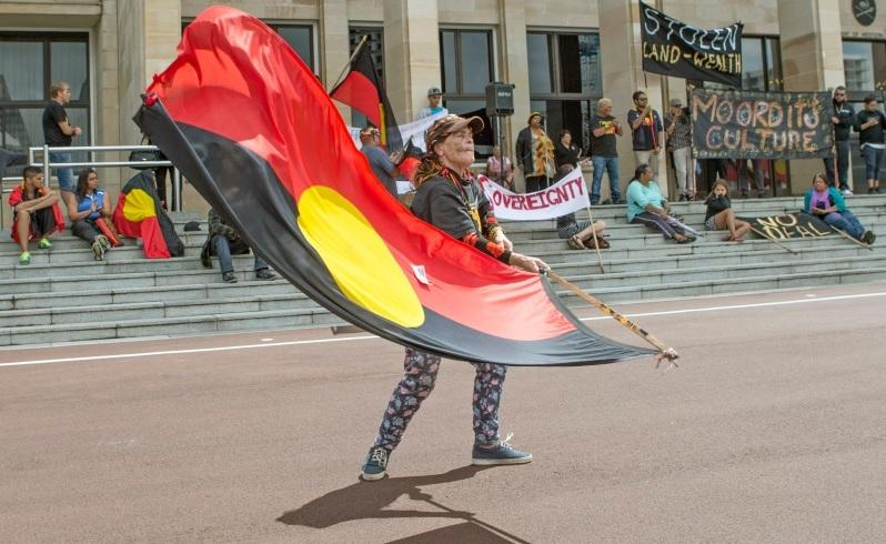 Aboriginal protesters gather on the steps of Parliament House. Picture: Steve Ferrier/The West Austalian