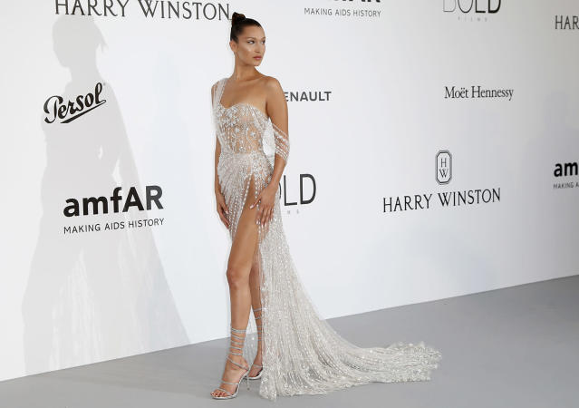 <p>U.S. model Bella Hadid attends the Cinema Against AIDS amfAR gala 2017 held at the Hotel du Cap, Eden Roc in Cap d'Antibes, France, May 25, 2017, within the scope of the 70th annual Cannes Film Festival that runs from May 17 to 28. (Photo: Guillaume Horcajuelo/EPA) </p>