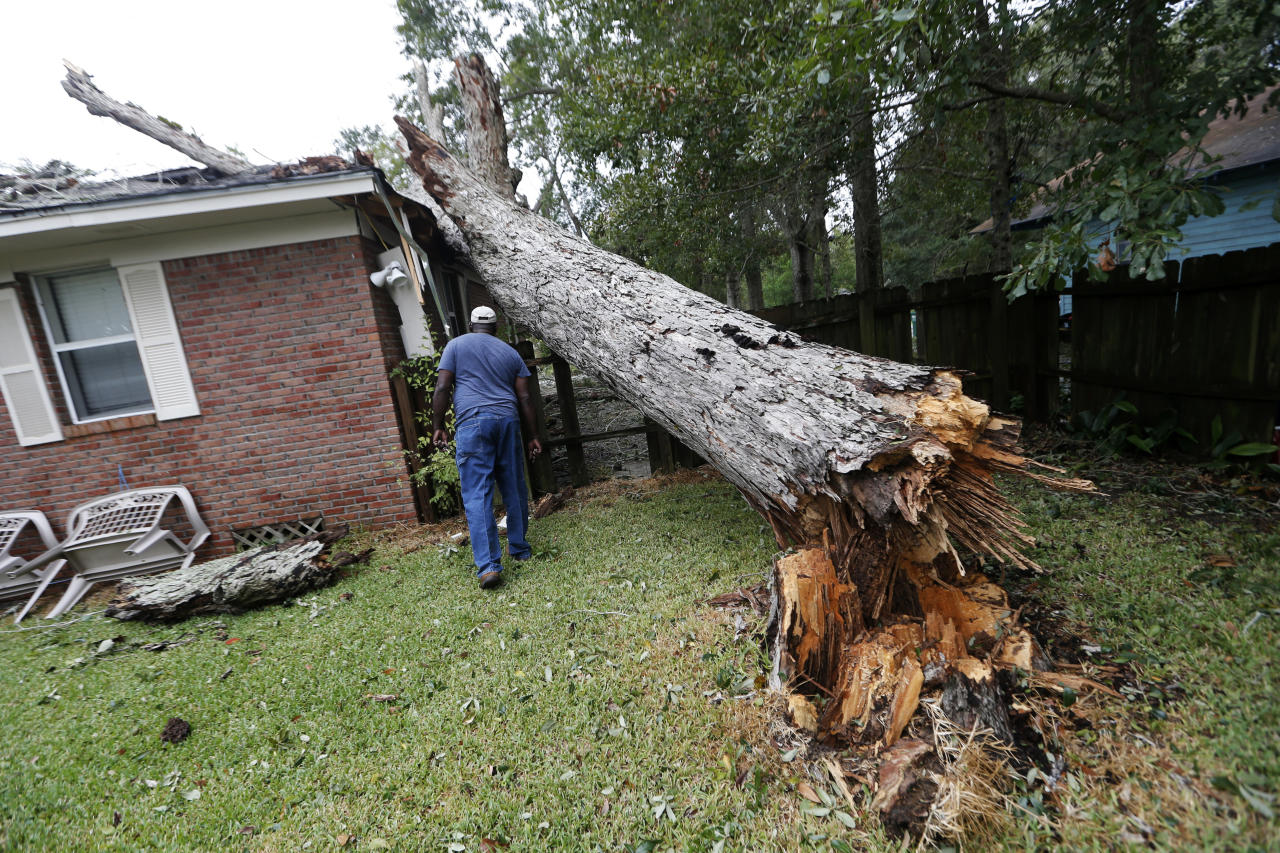 <p>Lawrence Carriere checks on the home of his neighbor after a tree fell on it and crashed through the roof, in Biloxi, Miss., in the aftermath of Hurricane Nate, Sunday, Oct. 8, 2017. (Photo: Gerald Herbert/AP) </p>