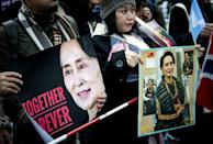 Around 250 pro-Myanmar protesters gathered in front of the International Court of Justice on Wednesday