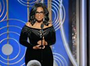 """<p>Oprah Winfrey won the Cecil B. DeMille Award in 2018, becoming the first Black woman to receive the honor. Her passionate speech began with recollections of watching Sidney Poitier break barriers at awards shows, commentary on the Time's Up movement <a href=""""https://people.com/awards/golden-globes-2018-oprah-winfrey-speech/"""" rel=""""nofollow noopener"""" target=""""_blank"""" data-ylk=""""slk:and the promise that"""" class=""""link rapid-noclick-resp"""">and the promise that</a> """"a new day is on the horizon.""""</p>"""