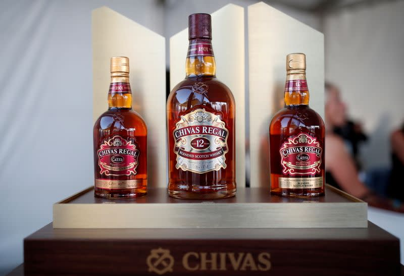 FILE PHOTO: Bottles of Chivas Regal blended Scotch whisky, produced by Pernod Ricard SA, are displayed on the campus of the HEC School of Management in Jouy-en-Josas, near Paris