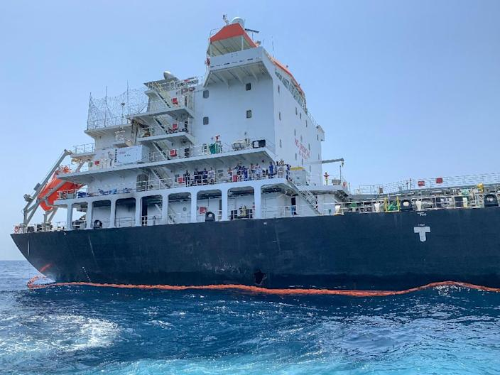 A picture taken during a guided tour by the US Naval Forces Central Command, or NAVCENT, shows damage to the hull of the Japanese-owned tanker Kokuka Courageous off the port of the Gulf emirate of Fujairah on June 19, 2019 (AFP Photo/Mumen KHATIB)