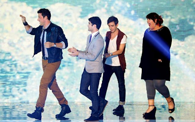 UNIVERSAL CITY, CA - AUGUST 07: (L-R) Actors Cory Monteith, Darren Criss, Kevin McHale, and Ashley Fink onstage during the 2011 Teen Choice Awards held at the Gibson Amphitheatre on August 7, 2011 in Universal City, California. (Photo by Kevin Winter/Getty Images)