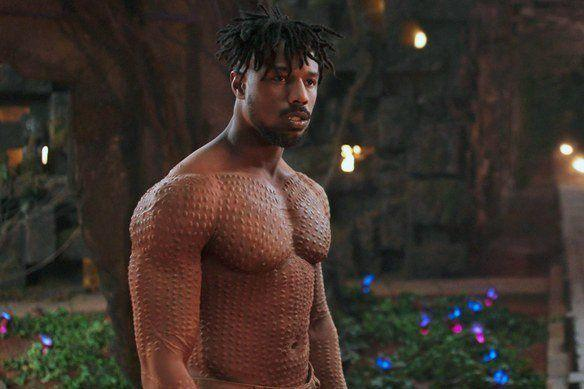 "Michael B. Jordan as Erik Killmonger in ""Black Panther."""