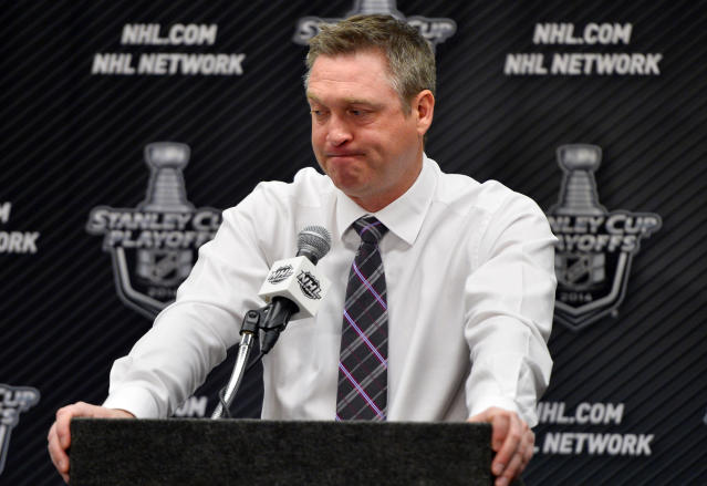 Colorado Avalanche head coach Patrick Roy talks during a news conference following Game 7 of an NHL hockey first-round playoff series against the Minnesota Wild on Wednesday, April 30, 2014, in Denver. Minnesota beat Colorado 5-4 to win the series. (AP Photo/Jack Dempsey)