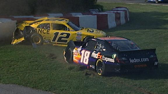 Trouble strikes first for Sam Hornish Jr. as he gets hit by the No. 18, then he gets collected in a crash with Danica Patrick.