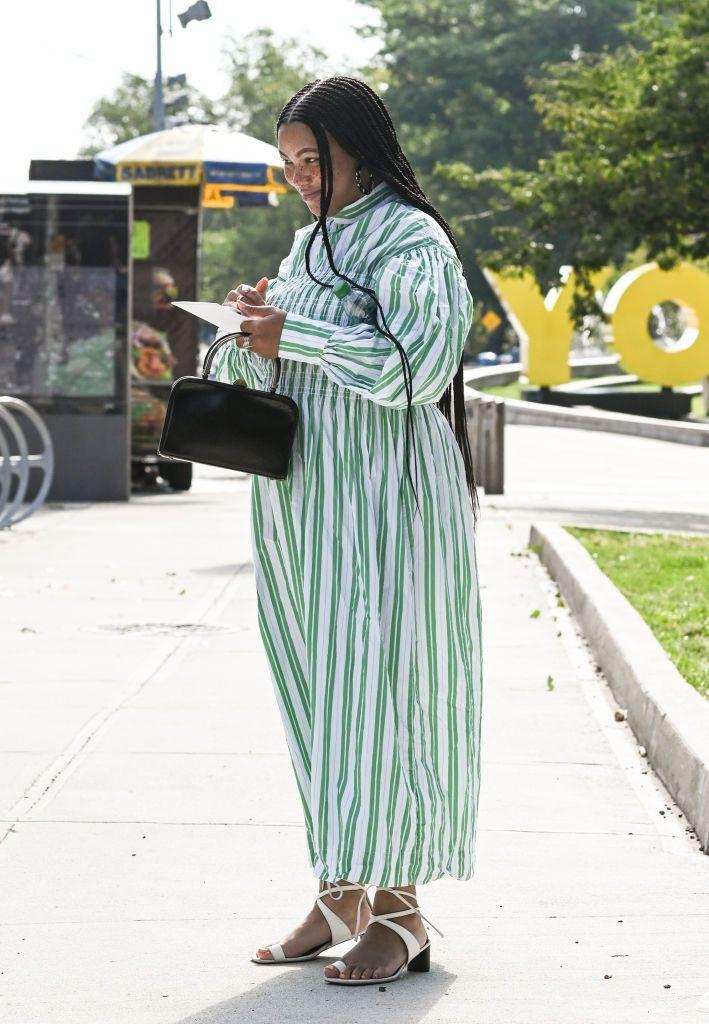 <p>A guest wears Ganni to the Ulla Johnson show.</p>