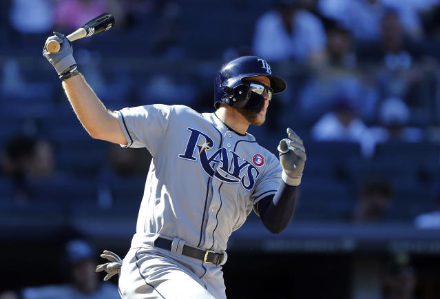 Tampa Bay Rays' Austin Meadows watches his home run during the 11th inning of a baseball game against the New York Yankees, Saturday, May 18, 2019, in New York. (AP Photo/Jim McIsaac)