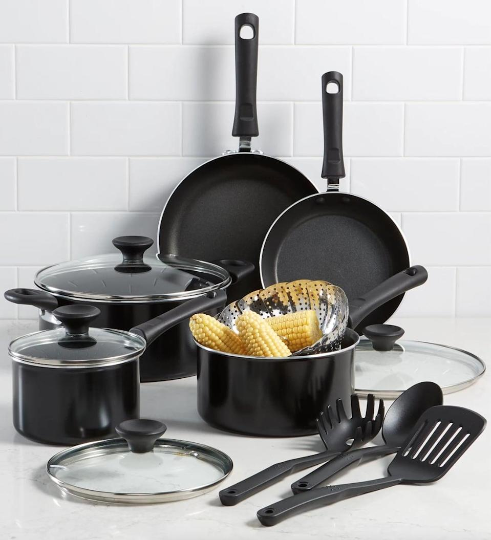<p>This <span>Tools of the Trade Nonstick 13-Pc. Cookware Set</span> ($51, originally $120) is a kitchen essential. The set includes two saucepans with lids, a stockpot with a lid, a sauté pan with a lid, a fry pan, flower steamer, a large spoon, slotted turner and a pasta server.</p>