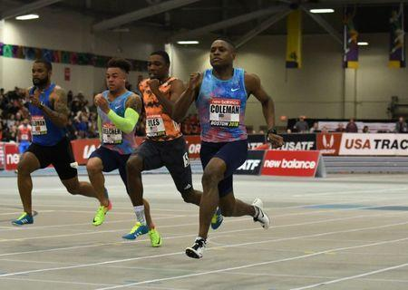Feb 10, 2018; Boston, Massachussetts, USA; Christian Coleman (USA) wins the 60m in 6.46 during the New Balance Indoor Grand Prix her (at Reggie Lewis Center. From left: Keston Bledman (TTO), Christopher Belcher (USA), Noah Lyles (USA) and Coleman. Mandatory Credit: Kirby Lee-USA TODAY Sports