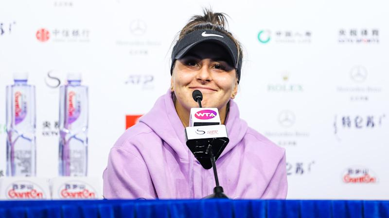 BEIJING, CHINA - OCTOBER 04: Bianca Andreescu of Canada attends a press conference after the Women's Singles quarter-final match against Naomi Osaka of Japan on Day seven of 2019 China Open at the China National Tennis Center on October 4, 2019 in Beijing, China. (Photo by VCG/VCG via Getty Images)