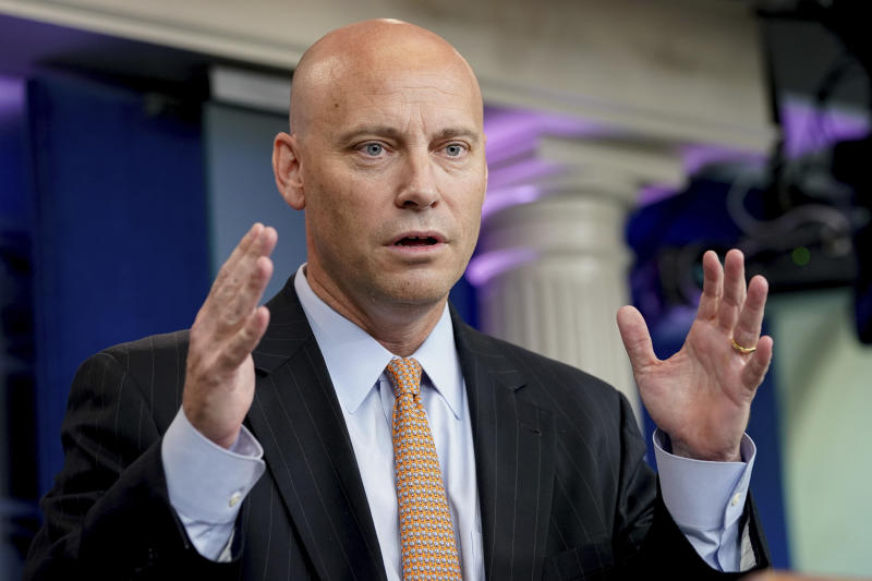 "FILE - In this July 19, 2017, file photo, White House Director of Legislative Affairs Marc Short talks to the media during the daily press briefing at the White House in Washington. Short says President Donald Trump isn't campaigning for Alabama Senate candidate Roy Moore due to ""discomfort"" with allegations of sexual misconduct involving the former judge. (AP Photo/Andrew Harnik, File)"