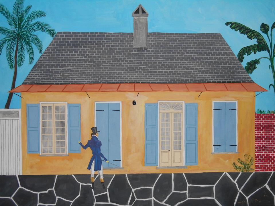 Andrew LaMar Hopkins's painting of Jean-Louis Dolliole at his Creole cottage home.