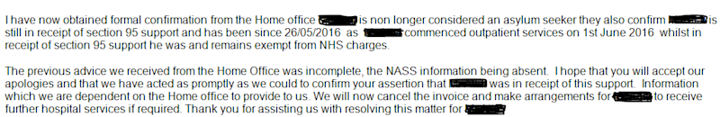 Response from BHR Hospitals after Ms Rea provided documentation showing he was an asylum seeker, sent on 15 February 2017