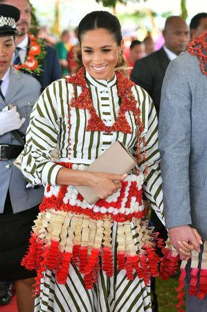 Meghan, Duchess of Sussex visits an exhibition of Tongan handicrafts, mats and tapa cloths at the Fa'onelua Convention Centre on the second day of the royal couple's visit to Tonga, October 26, 2018. Dominic Lipinski/Pool via REUTERS