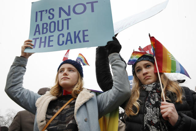 <p>Lydia Macy, 17, left, and Mira Gottlieb, 16, both of Berkeley, Calif., rally outside of the Supreme Court which is hearing the 'Masterpiece Cakeshop v. Colorado Civil Rights Commission' today, Tuesday, Dec. 5, 2017, in Washington. (Photo: Jacquelyn Martin/AP) </p>