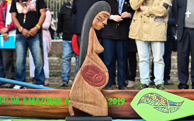 An indigenous Amazonian statuette, displayed at the Vatican and similar to the ones that were stolen - AFP