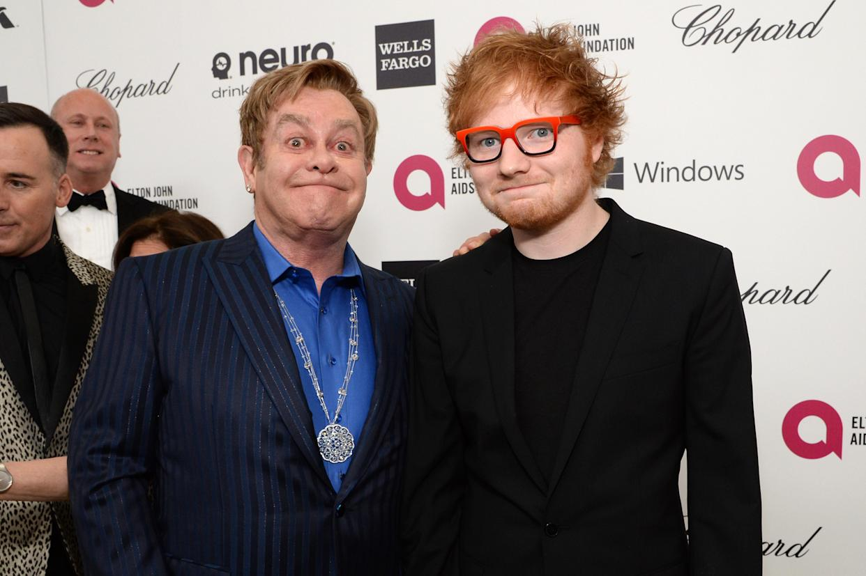 WEST HOLLYWOOD, CA - MARCH 02:  Sir Elton John (L) recording artist Ed Sheeran attend the 22nd Annual Elton John AIDS Foundation Academy Awards Viewing Party at The City of West Hollywood Park on March 2, 2014 in West Hollywood, California.  (Photo by Michael Kovac/Getty Images for EJAF)