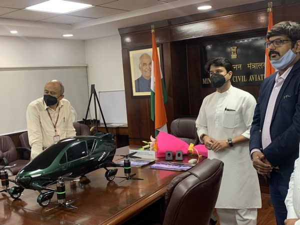 Union Civil Aviation Minister Jyotiraditya Scindia reviewing the model of Hybrid flying car on Monday.