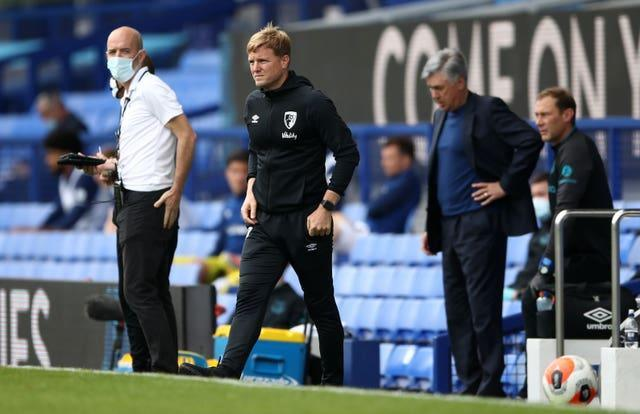 Eddie Howe's final match in charge of Bournemouth was at Everton last July