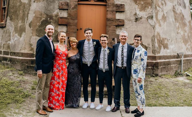 The Beischel Family: Brandon Casey (Beth's husband), Beth, me, Hans, Luke, Joe (my husband) and Will at Hans and Luke's wedding (Photo: Courtesy of Bird and Rose Photography)