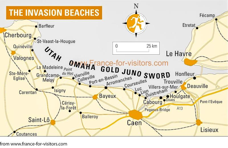D Day Normandy June 6 1944 Map