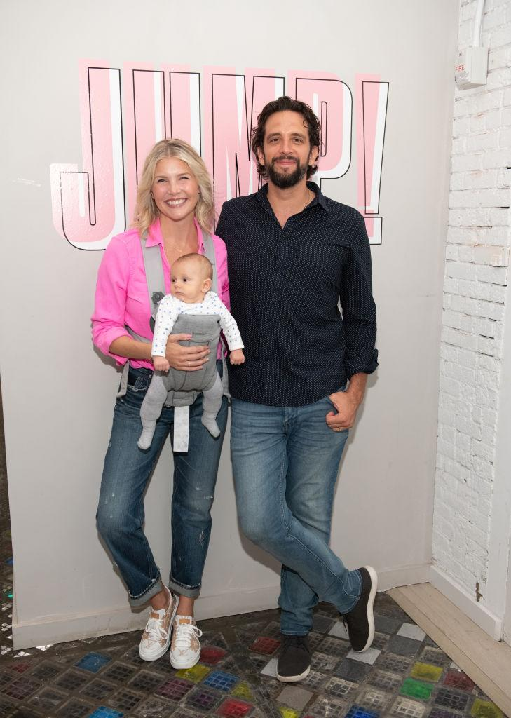 Amanda Kloots, Nick Cordero and their son, Elvis. (Photo by Noam Galai/Getty Images for Beyond Yoga)