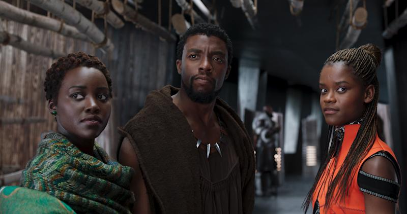 "Lupita Nyong'o Chadwick Boseman and Letitia Wright in ""Black Panther."" (MARVEL STUDIOS)"