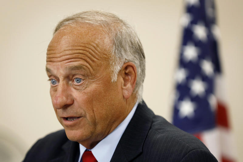 "U.S. Rep. Steve King, R-Iowa, speaks during a town hall meeting, Tuesday, Aug. 13, 2019, in Boone, Iowa. King is defending his call for a ban on all abortions by questioning whether ""there would be any population of the world left"" if not for births due to rape and incest. Speaking Wednesday, Aug. 14, 2019, before a conservative group in the Des Moines suburb of Urbandale, the Iowa congressman reviewed legislation he has sought that would outlaw abortions without exceptions for rape and incest. (AP Photo/Charlie Neibergall)"