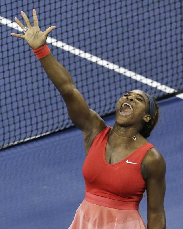 Serena Williams reacts after defeating Victoria Azarenka, of Belarus, during the women's singles final of the 2013 U.S. Open tennis tournament, Sunday, Sept. 8, 2013, in New York. (AP Photo/Mike Groll)