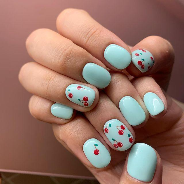 "<p>Add a retro twist to your summer nail art with a sky blue base and cute mini cherry print design on top.</p><p><a href=""https://www.instagram.com/p/CAFbvNzBNOB/?utm_source=ig_embed&utm_campaign=loading"" rel=""nofollow noopener"" target=""_blank"" data-ylk=""slk:See the original post on Instagram"" class=""link rapid-noclick-resp"">See the original post on Instagram</a></p>"
