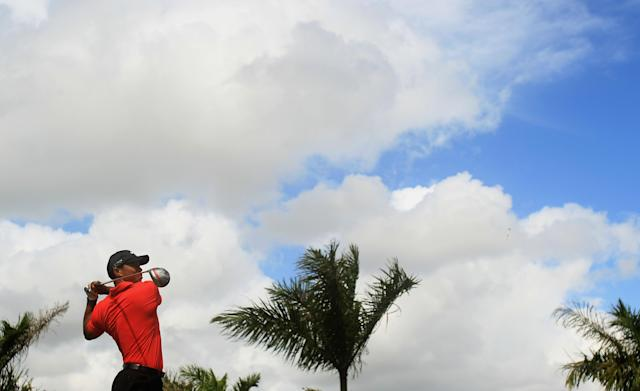 MIAMI, FL - MARCH 11: Tiger Woods watches his tee shot on the eighth hole during the final round of the World Golf Championships-Cadillac Championship on the TPC Blue Monster at Doral Golf Resort And Spa on March 11, 2012 in Miami, Florida. (Photo by Scott Halleran/Getty Images)