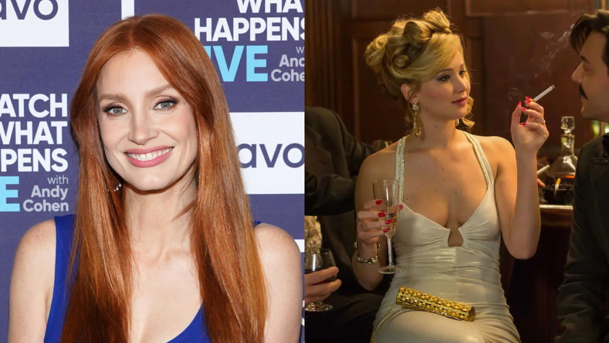 Jessica Chastain had to turn down Jennifer Lawrence's role in 'American Hustle'. (Charles Sykes/Bravo/NBCU Photo Bank/Getty Images/Francois Duhamel/Sony Pictures)