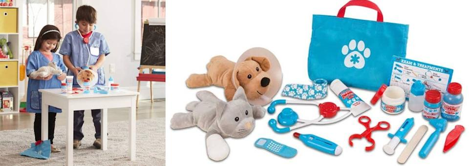 """Help your toddler develop some serious empathy skills while taking care of a plush dog and cat with a toy stethoscope, thermometer, syringe, ear scope, tweezers, clamp, cast, bandages and, of course, the cone of shame.<br /><br /><strong>Promising review:</strong>""""My 2-and-a-half-year-old has not stopped playing with this since Christmas morning, definitely a favorite gift. I love the bag for all the storage of small parts!<strong>This toy teaches curiosity, compassion, fine motor skills and so much more.</strong>I love Melissa & Doug toys and this one does not disappoint. My child is now playing doctor and caring for her animals (and dolls, and everyone else) and asking really great questions as a result. You won't be disappointed in this purchase!"""" —<a href=""""https://amzn.to/3tKcs9J"""" target=""""_blank"""" rel=""""noopener noreferrer"""">Kayla Phillips</a><br /><strong><br />Get it from Amazon for<a href=""""https://amzn.to/3eoF5Tt"""" target=""""_blank"""" rel=""""noopener noreferrer"""">$26.99</a>.</strong>"""