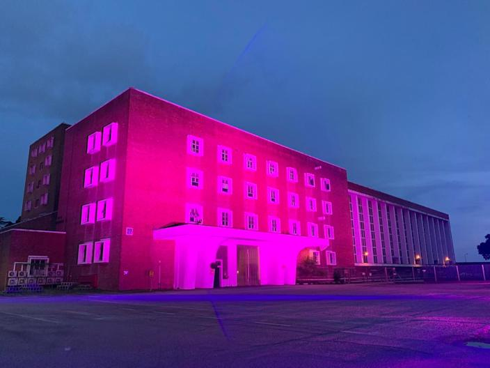 Pasir Panjang Power Station, a hired venue space, lit up its facade in pink in support of Pink Dot 2021, Singapore's annual rally for LGBTQ equality. (Photo: Pink Dot)