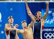 """<p>Michael Phelps entered the Athens 2004 Summer Games determined to beat Mark Spitz's record of winning seven gold medals at a single Olympics. He <a href=""""https://www.history.com/this-day-in-history/michael-phelps-wins-eighth-medal"""" rel=""""nofollow noopener"""" target=""""_blank"""" data-ylk=""""slk:competed in seven events"""" class=""""link rapid-noclick-resp"""">competed in seven events</a>, including the 4x200m freestyle relay final. </p>"""