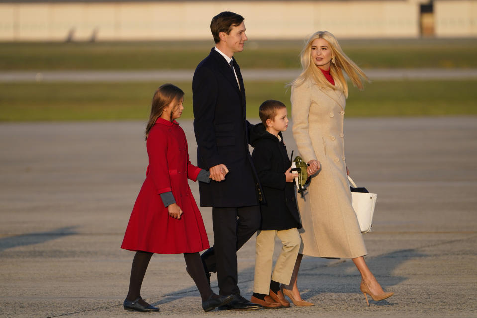 Ivanka Trump and her husband Jared Kushner board Air Force One with their children Arabella and Joseph with President Donald Trump to travel to a campaign rally in Moon Township, Pa., Tuesday, Sept. 22, 2020, at Andrews Air Force Base, Md.