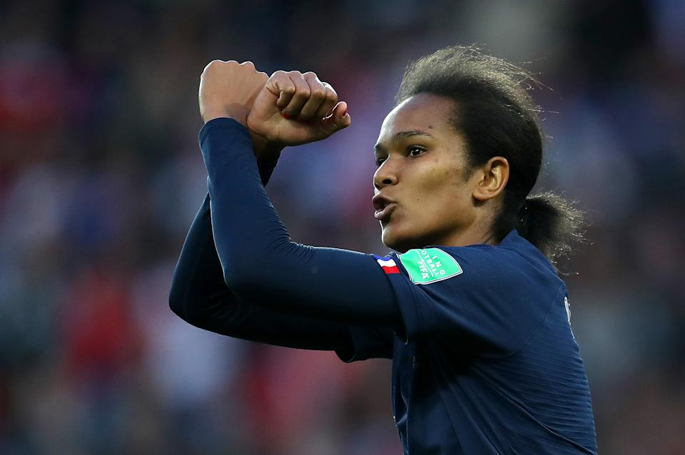 PARIS, FRANCE - JUNE 07: Wendie Renard of France celebrates after scoring her team's second goal during the 2019 FIFA Women's World Cup France group A match between France and Korea Republic at Parc des Princes on June 07, 2019 in Paris, France. (Photo by Catherine Ivill - FIFA/FIFA via Getty Images)