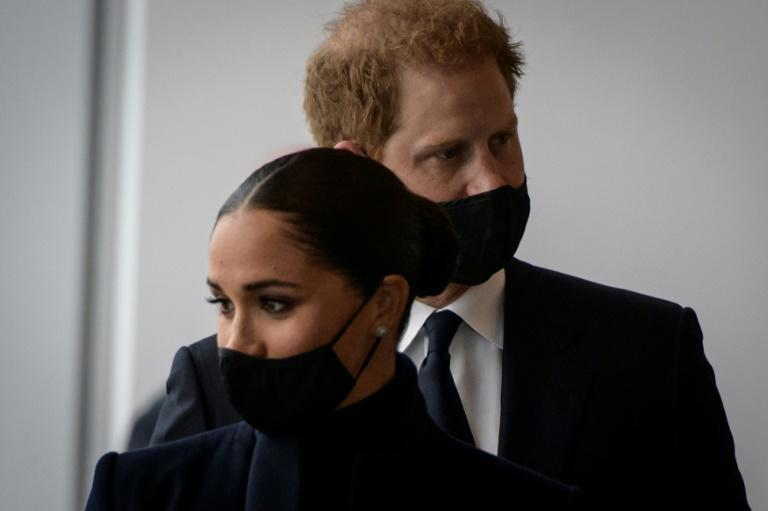 Prince Harry and Meghan Markle, the Duke and Duchess of Sussex, visit the One World Trade Center observation deck in New York (AFP/Ed JONES)