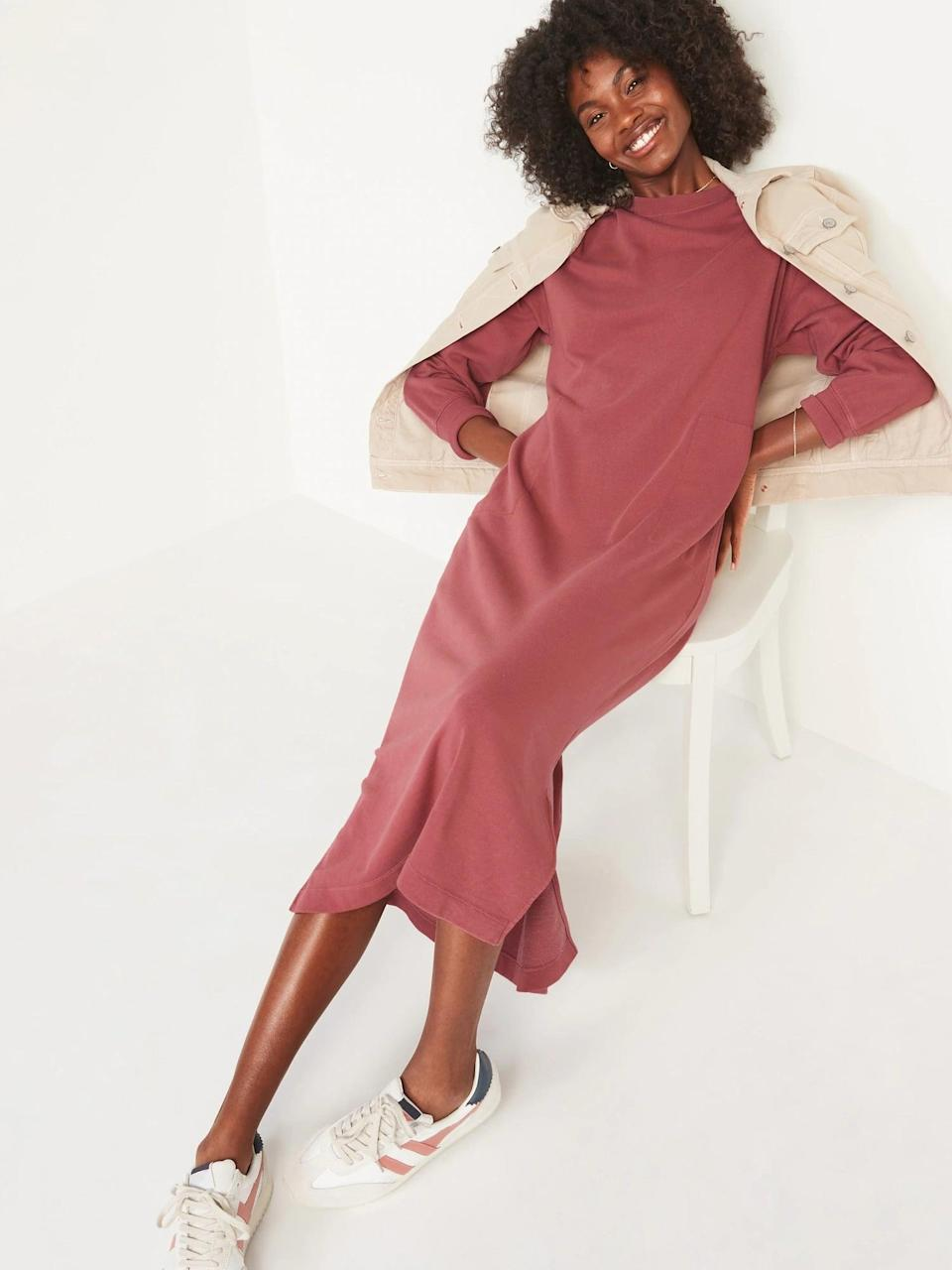 <p>Whether you like this mauve-red, or prefer sage green, an <span>Old Navy Long-Sleeve Midi Sweatshirt Shift Dress</span> ($45) easily makes a fall (and winter) staple.</p>