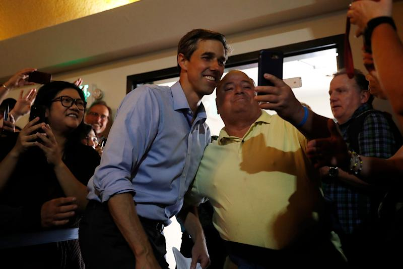 Democratic presidential candidate former U.S. Rep. Beto O'Rourke (D-TX) takes a selfie with a supporter during a campaign town hall at the Irish Cultural Center on April 28, 2019 in San Francisco, California. The rally is the second stop of his four-day California swing that include stops in Los Angeles and San Diego.