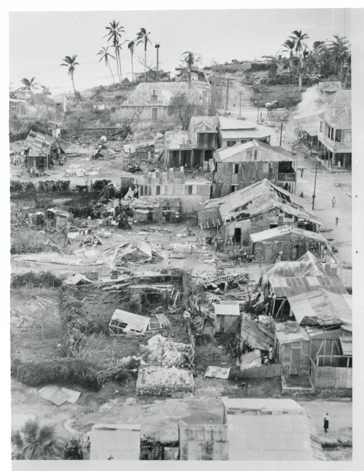 <p>This aerial view shows destruction in Aux Cayes after Hurricane Hazel ripped into the Haiti town on Oct. 13, 1954. Death and destruction in untold amounts resulted, as the 185-kilometre-per-hour winds sped northward towards the Eastern seaboard states of the U.S. (Photo from Getty Images) </p>