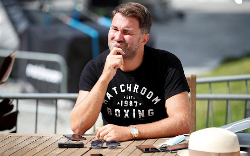 Boxing - Matchroom Boxing Photocall - Brentwood, Britain - July 29, 2020 Promoter Eddie Hearn talks to the media during a photocall  - Action Images via Reuters/PETER CZIBORRA