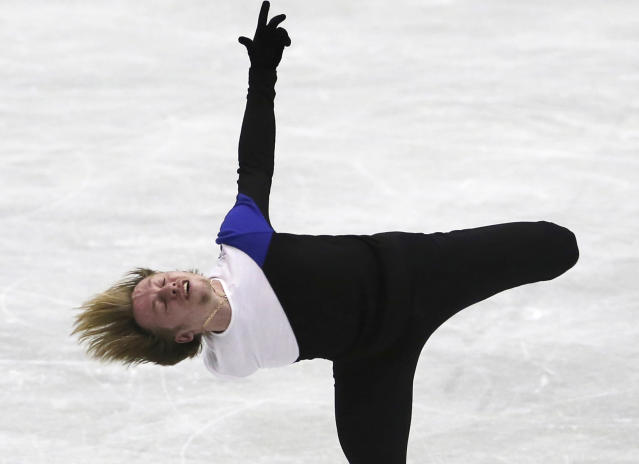 Sergei Voronov of Russia performs during a men's short program of the NHK Trophy Figure Skating in Hiroshima, western Japan, Friday, Nov. 9, 2018. (AP Photo/Koji Sasahara)